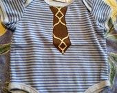 3-6Month Blue Striped Onesie with Necktie