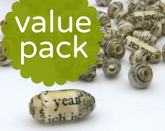 Handmade Recycled Paper Beads Custom Bulk Assortment, 90 Beads You Choose MADE to ORDER