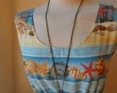 Jennifer Lilly Beautiful Beach Sand Star Fish Shell Nautical Cotton Dress Blues Yellows // Boho Vintage Kitsch Whimsical Cute Dress (XS,S)