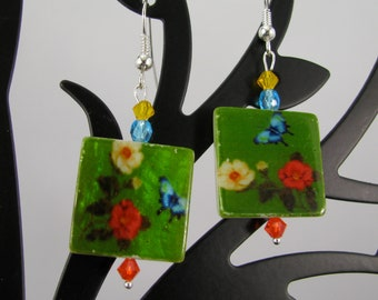 Painted shell floral tiles w/ Swarovski crystals sterling dangle earrings