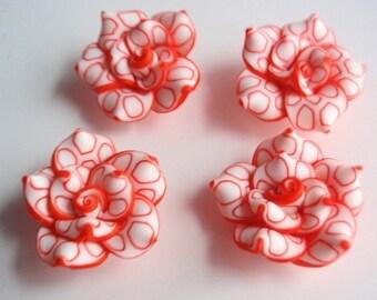 4 Clay Beads, Jewelry Making Supply, Beautiful Handmade Roses of Polymer Clay, 4 White and RedOrange Rose Beads