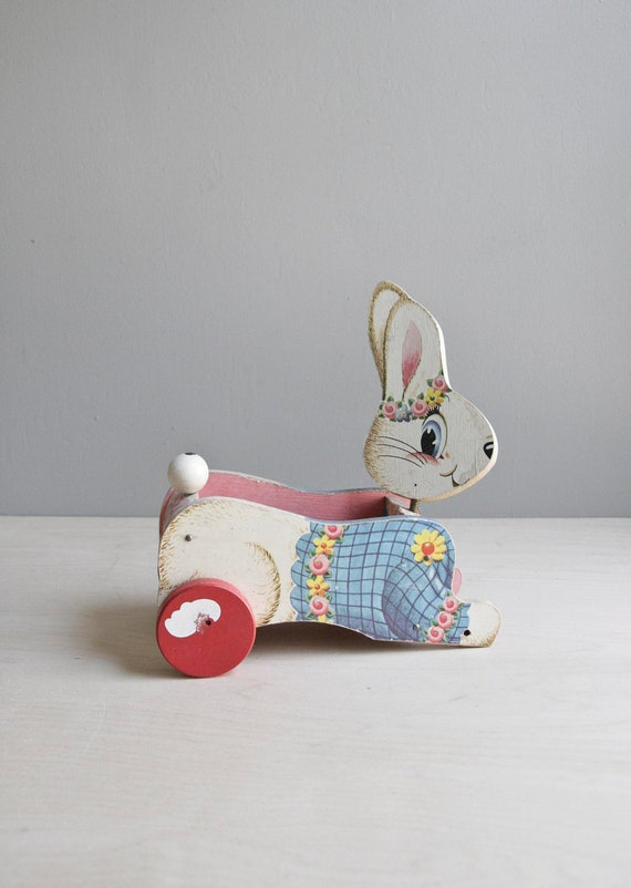 vintage bunny cart / classic pull toy