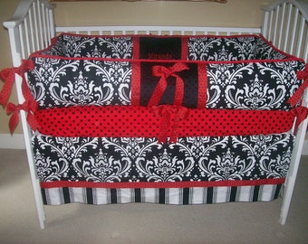 Black and White and Red Baby Bedding 4 piece set, Ladybug theme