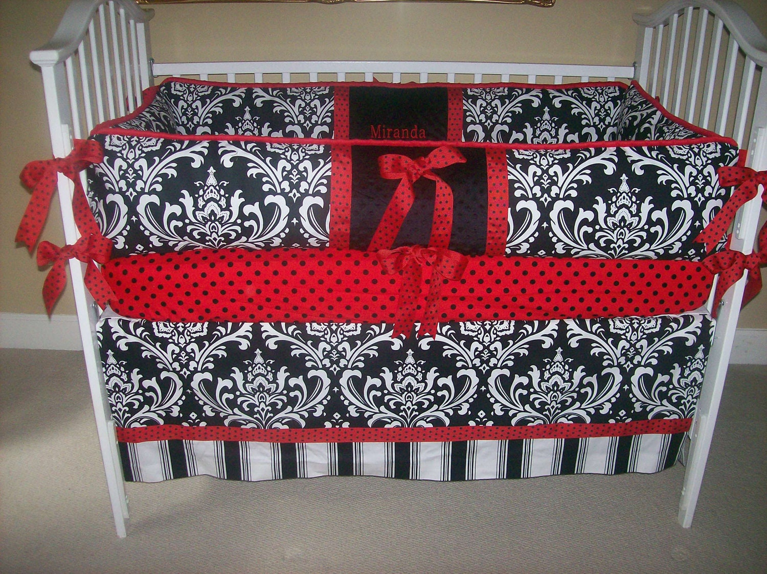 black and white and red baby bedding 4 piece by babydesignsbyelm. Black Bedroom Furniture Sets. Home Design Ideas