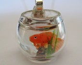 Pet Goldfish Bowl Necklace - Dollhouse Miniature Jewelry