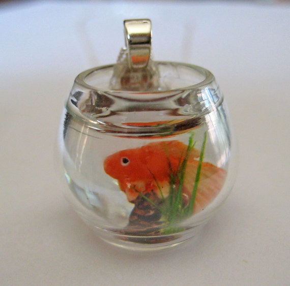 Pet Goldfish Bowl Necklace - Dollhouse Miniature Jewelry