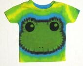 Happy Green Tree Frog Tie Dye Shirt Size 12 months