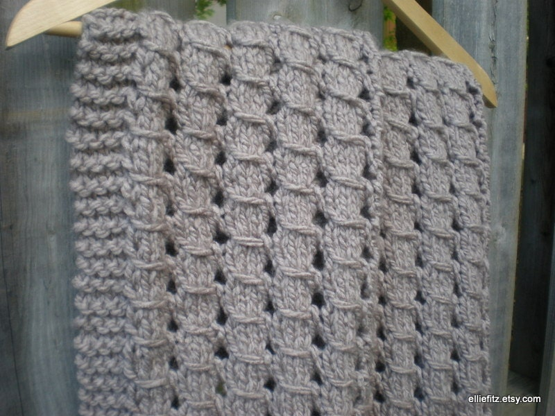 Knit Blanket Pattern Size 13 Needles : Chunky Lace Baby Blanket Knitting Pattern PDF Pattern Knit