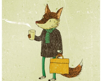 Mr. Fox and coffee A4 print