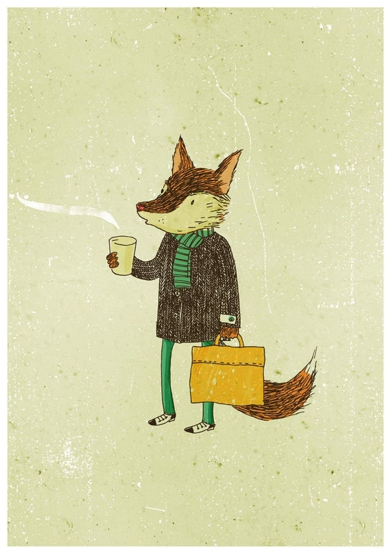 Mr. Fox and coffee A4 print