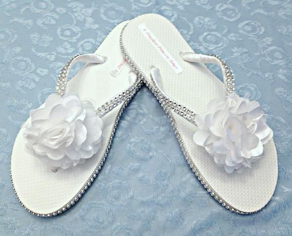 bridal white flip flops wedding flip flops rhinestone flip flops
