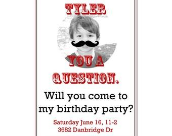 Mustache Party invitation- Boy's Birthday Invitation- Digial File, print yourself - Photo card