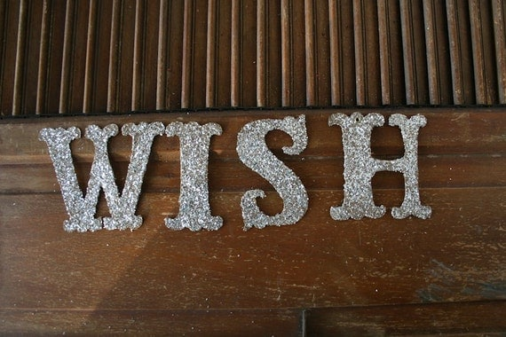 WISH Glittered Letters OOOPS one with a grommet