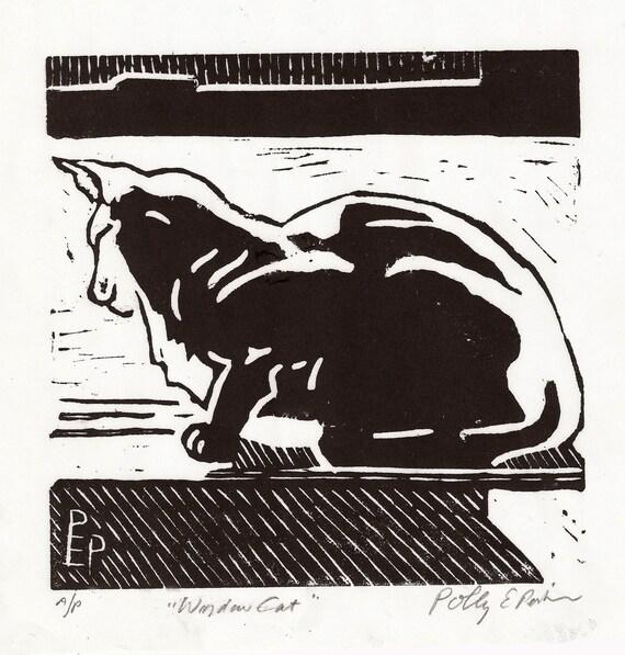 Window Cat Linocut Artist Print
