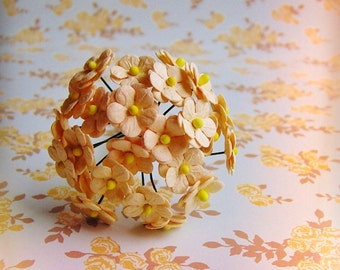 Sweet Peach forget me nots Vintage style Millinery Flower Bouquet - for decorating, gift wrapping, weddings, party supply, holiday