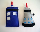 Dr. Who Ornament Dalek and Tardis Set of 2 for Christmas