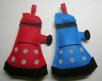 Dr. Who Dalek Christmas Ornament Set of 2 in Red and Blue // Perfect Stocking Stuffer for a Doctor Who Fan