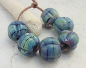 Lampwork Beads - Handmade Glass Beads - Blue Raku & Black