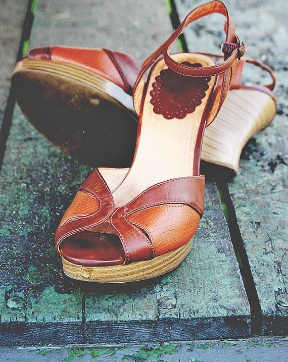 Vintage Wedges by Candies Shoes 8 1/2 M Brown Leather Boho