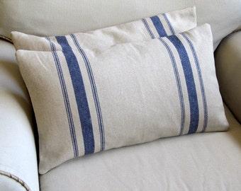 BLUE stripes grain sack 12x22  pillows PAIR