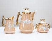 3pc c1880 Peach Lustreware Coffee/Hot Chocolate Set August Rappsilber Konigszelt Rare REDUCED
