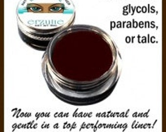 Organic Mineral Gel Eyeliner Pot in  DARK BROWN  Naturagel(tm)  made with organic ingredients unscented  Easy To Use