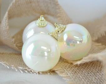 5 Vintage irridescent creamy white Christmas Ornament Balls--5 ornaments