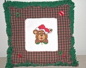 CHRISTMAS--Pillow with Cross Stitch Bear