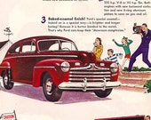 Vintage 1940's ad - Mid Century modern Ford Autombiles - Car Gasoline history Advertisment