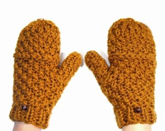 Chunky Knit Mittens that Convert to Fingerless Gloves, With Thumb Holes