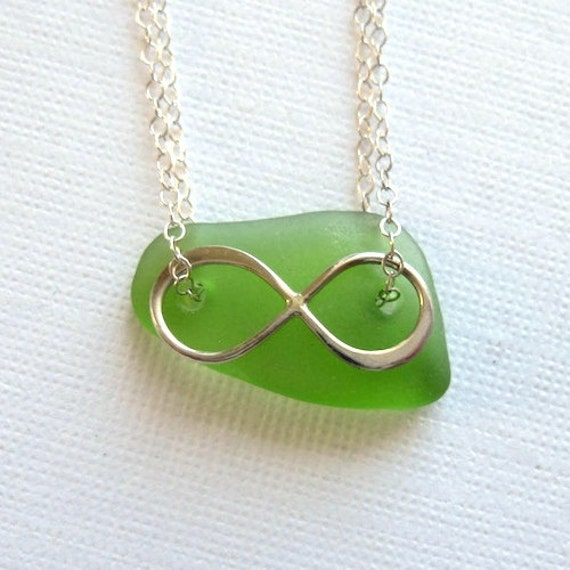 Silver Infinity Necklace with Bright Green Sea Glass, OOAK