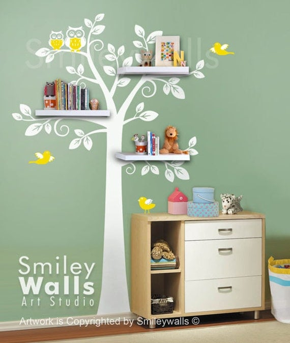Shelf Tree Wall Decal Children Wall Decal Nursery by smileywalls