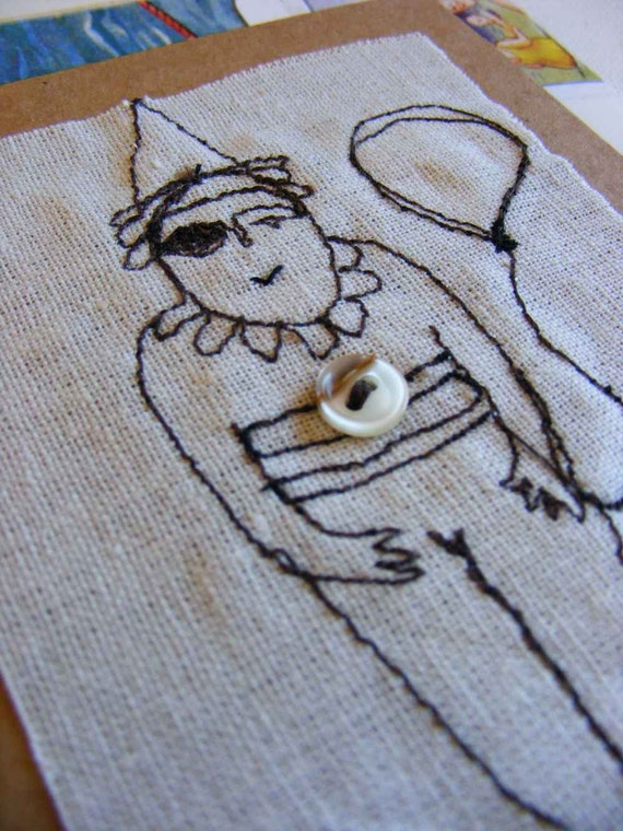 clown - original embroidered card with envelope made from vintage book