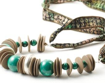 Batik Malachite Ceramic Sterling Silver Statement Ribbon Necklace Long OOAK Bohemian Chunky