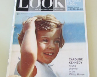 Vintage Look Magazine September 1961 Caroline Kennedy  Kennedy Family - Sale