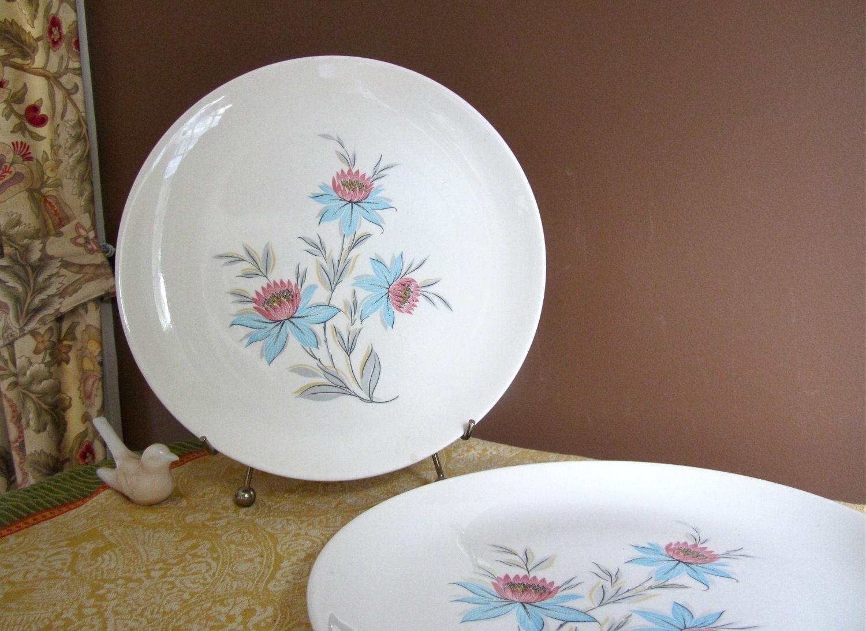 SALE Steubenville Pottery Co Vintage Set Of 2 Dinner Plates