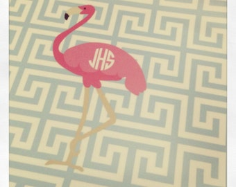 Personalized Melamine Platter Greek Key with Flamingo