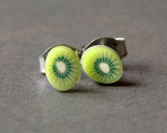 Miniature Fruit Slice Earrings - Cute Kiwi Studs
