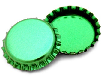 50 Metallic Green Bottle Caps New Linerless