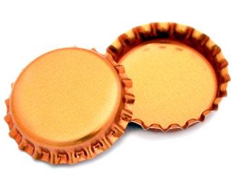 50 Metallic Orange Bottle Caps New Linerless