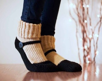 Knit Slipper Sock Adult Mary Jane Slippers Sox Ecru Beige House Slippers Womens Slippers Home Slippers Black House Shoes Home Shoes