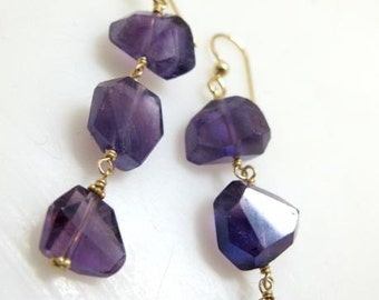Drop earrings gold earrings Amethyst gemstone jewelry. TRIPLE AMETHYST.