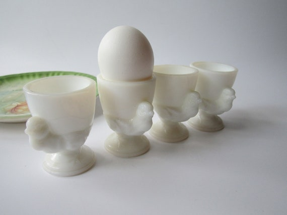 Vintage Milk Glass Hen Egg Cup Set of Four