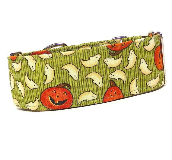 Martingale Collar GHOSTS and PUMPKINS halloween fabric wrapped Dog Collar