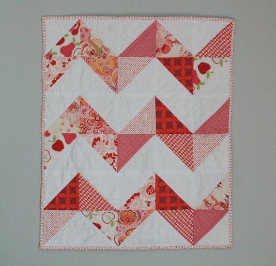 Pink Patchwork Zig Zag Toddler Lap Quilt, Stroller Quilt, Carseat Blanket