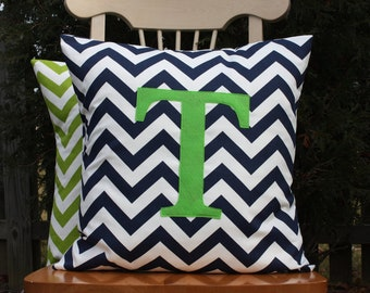 Navy and White Chevron Pillow Cover with Green Monogram