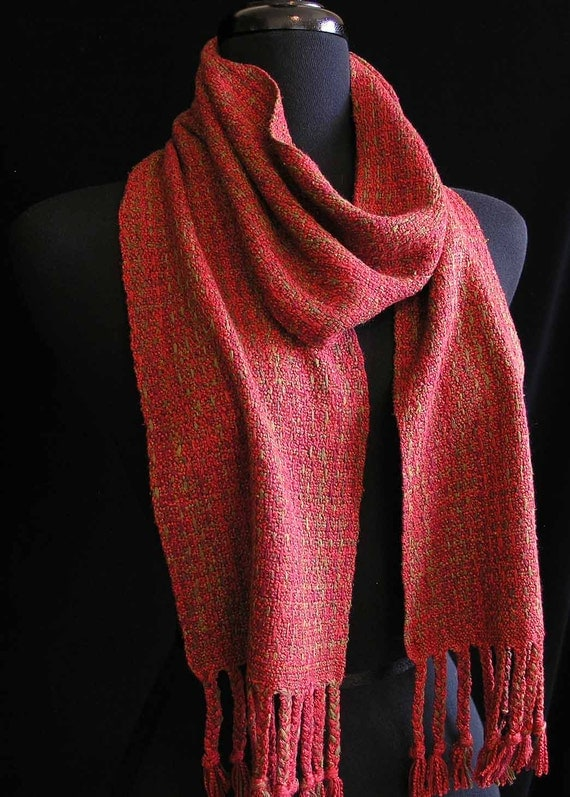 Handwoven Scarf Silk and Rayon Scarf OOAK- Tuscany