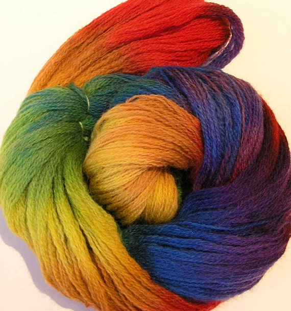 Lace Weight Yarn : Hand Dyed Wool Lace Weight Yarn Rainbow Twist by FiberFusion