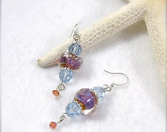 Aurora Borealis, lampwork earrings, lavender and amber earrings, art glass earrings, Swarovski crystal earrings, by XannasJewelryBox