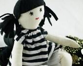 Cool Pirate Girl, Handmade, Rag Cloth Doll, Vegan Friendly, Made in Australia, 15 inches, OOAK, Upcycled Fabrics